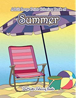 Large Print Coloring Book For Adults Of Summer A Simple And Easy