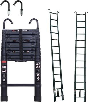 Escalera extensible multiusos retráctil para bricolaje, 13 peldaños compactos para ahorrar espacio, extensible a 3,8 m.: Amazon.es: Bricolaje y herramientas