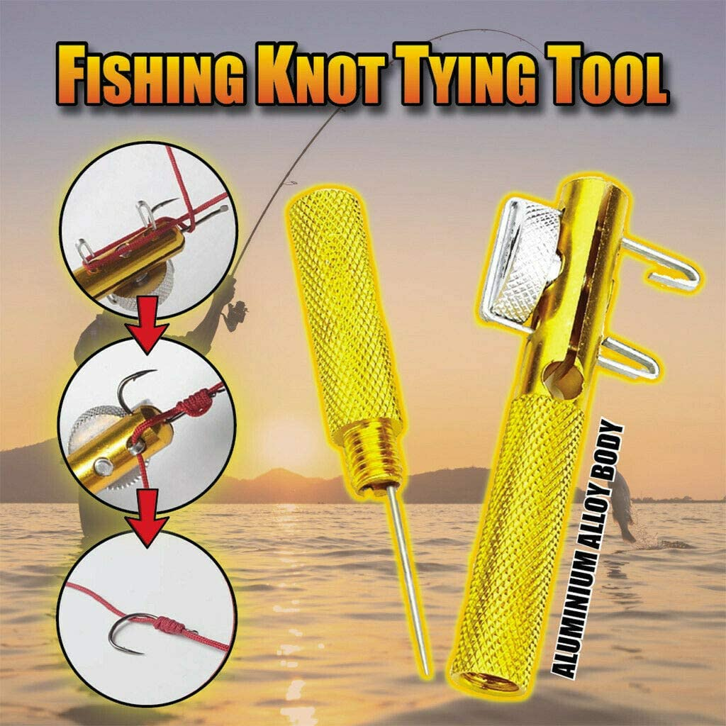 LOSFPVR Fast Fishing Knot Tying Tool Manual Portable Hook Knotter Practical Knot Line Tying Knotting Tool 2 in 1 Fishing Line Fishhook Tie Device Fishing Kits 2PCS