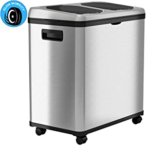 iTouchless 16 Gallon Touchless Trash Can and Recycle Bin, Stainless Steel, Dual-Compartment (8 Gal each), Kitchen Recycling and Garbage, 61 Liter