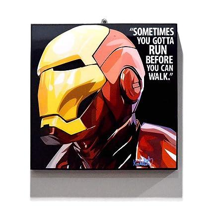 345ef8c99 Amazon.com  Pop Art Superhero Quotes - Iron Man Marvel Avengers Framed  Acrylic Canvas Poster Prints Artwork Modern Wall Decor