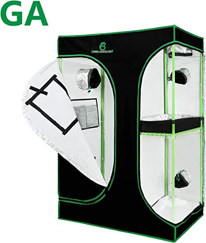 GA Grow Tent 24x24x48 36x36x72 40x40x80 Reflective Mylar Hydroponic Grow Tent with Observation Window and Waterproof Floor Tray for Indoor Plant Growing 2×2 3×3 4×4 150X120X200 cm 2-in-1 Tent