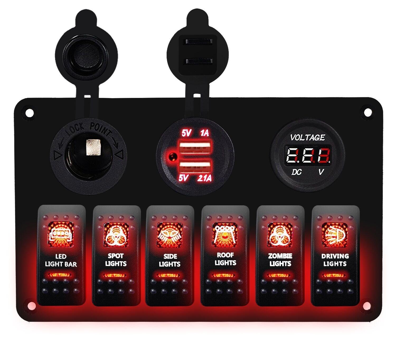 DCFlat 5 Pin 4 Gang/6-Gang Auto Marine Boat Circuit RV LED Rocker Schalter Panel vorzubeugen Voltmeter mit Sicherung Double USB fÜ r Wohnmobil-Auto/Boot rot/grü n Light (6 Gang Aluminium panel-red)