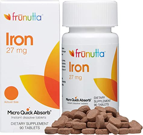 Frunutta Iron Under The Tongue Instant Dissolve Tablets - 27 mg x 90 Tablets - for Iron Deficiency in Anemia or Pregnancy - Dietary Supplement, Made in USA - Non-GMO, Gluten Free and No Additives