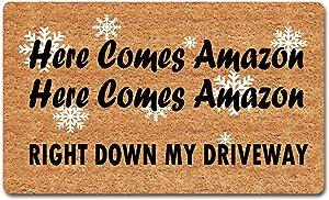 """dandan Funny Welcome Mats for Front Door Here Comes Amazon Doormat Right Down My Driveway Christmas Doormat Front Door Mats Non-Slip Hello Mat with Funny Quote Rubber Door Mats18(W) x 30""""(L)"""