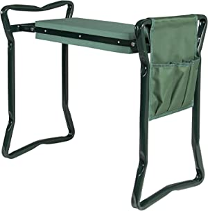 Garden Seat Bench with EVA Kneeling Pad and Tool Pouch