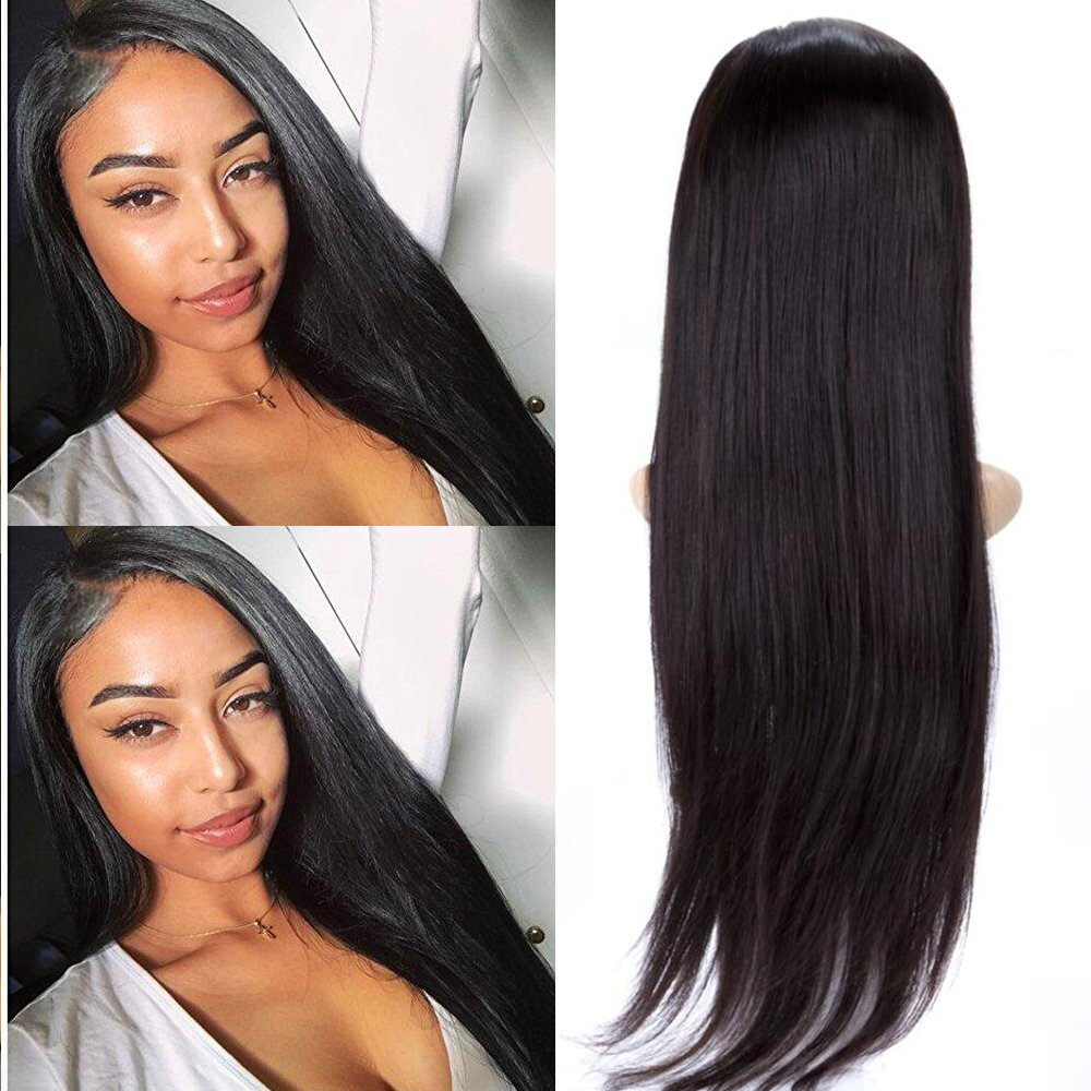 BeliHair 24'' Brazilian Remy Lace Front Wigs Straight Human Hair Wig Glueless with Baby Hair for Black Women 130% Density Natural Black by Belihair (Image #1)