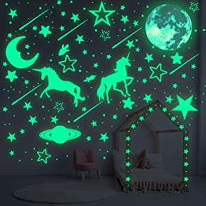 1058 Pieces Glow in The Dark Unicorn Wall Decals Glowing Moon Meteors Ceiling Stickers Star Unicorn Fluorescent Wall Decors for Kids DIY Bedding Room Nursery Room Baby Shower Decoration Party