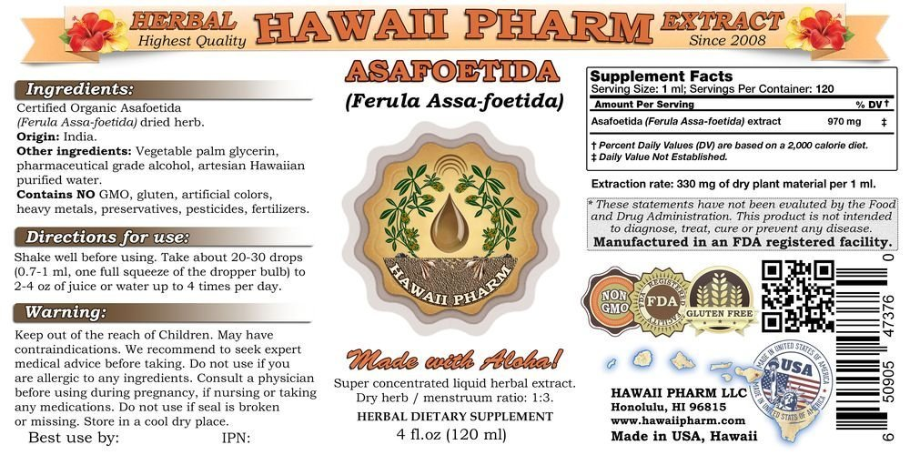 Asafoetida Liquid Extract, Organic Asafoetida (Ferula Assa-foetida) Powder Tincture Supplement 2x4 oz by HawaiiPharm (Image #1)