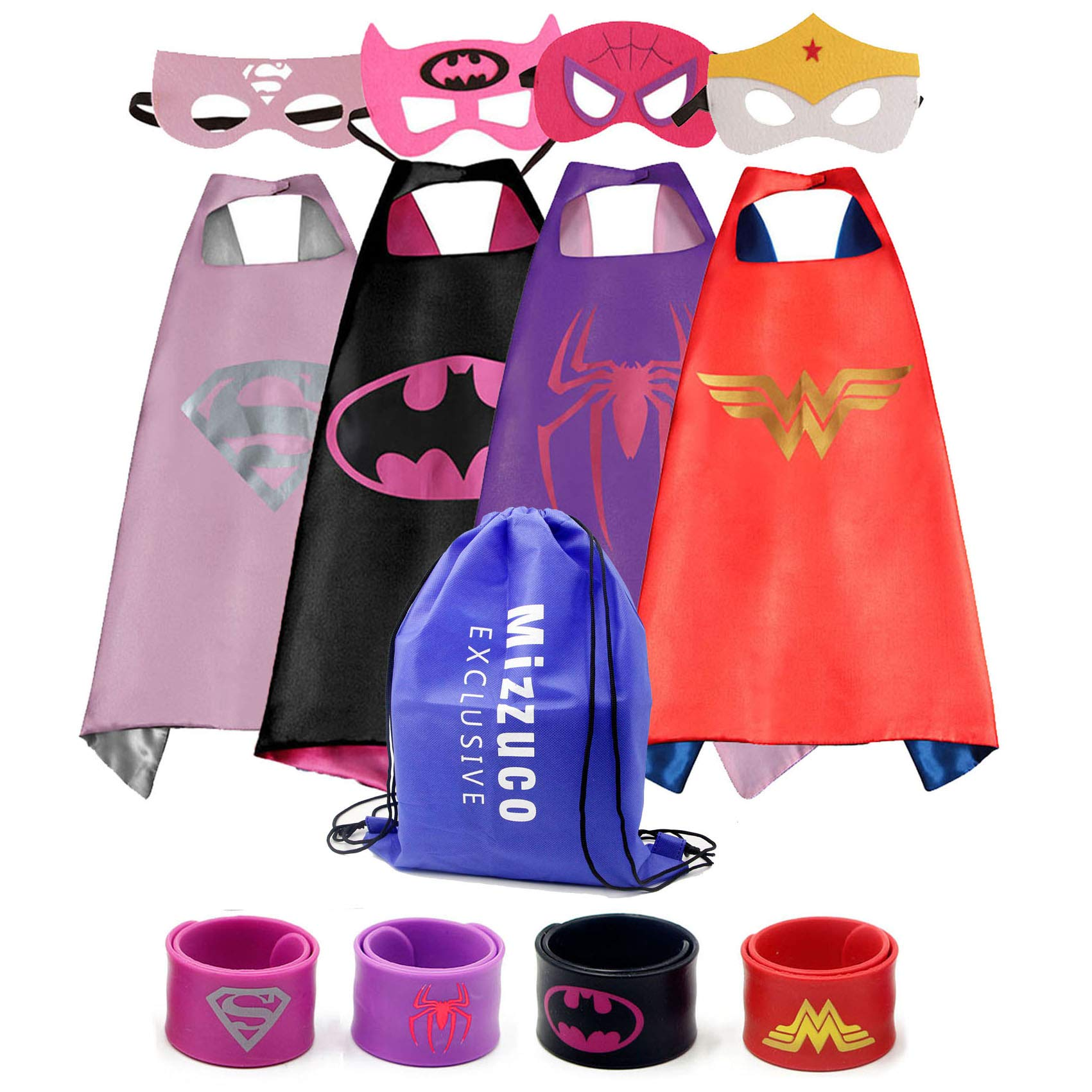 Mizzuco Kids Cartoon Dress up Costumes Satin Capes with Felt Masks and Exclusive Bag for Copslay Birthday Party (4pcs Cape for Girls) by Mizzuco