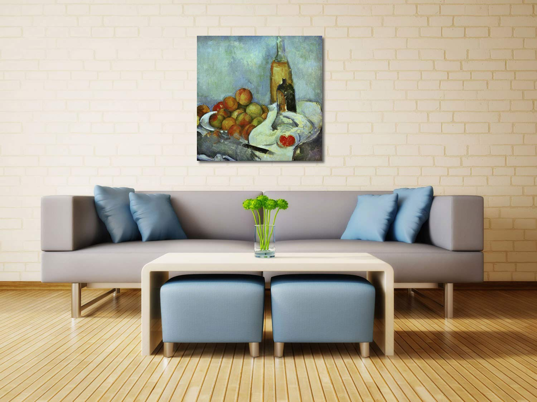 Paul Cézanne - Flaschen und Pfirsiche - auf 50x50 cm - Premium Leinwandbild auf - Keilrahmen - Wand-Bild - Kunst, Gemälde, Foto, Bild auf Leinwand - Alte Meister/Museum 5912f2