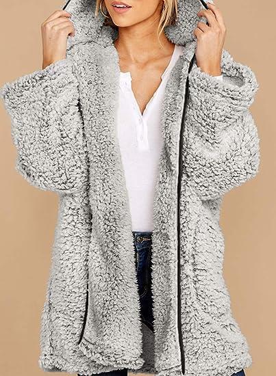 Aleumdr Pull /à capuche /à manches longues en polaire avec poches pour femme