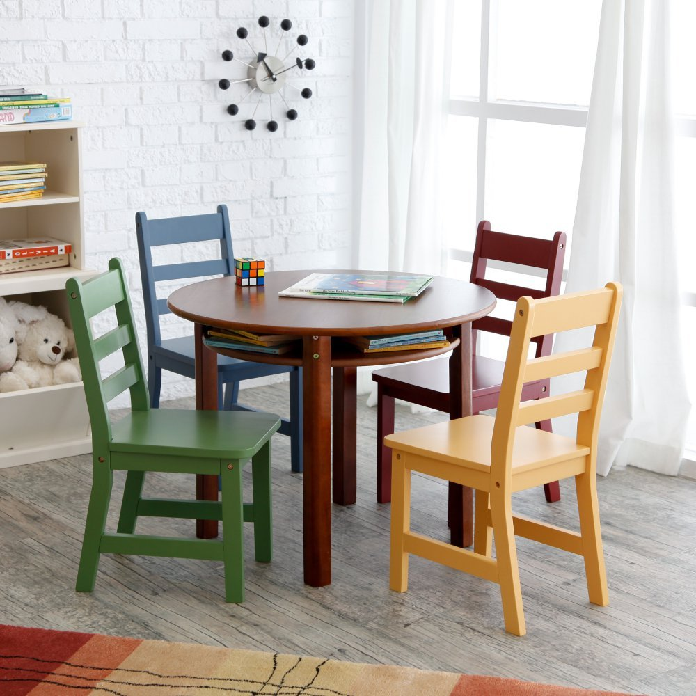 Amazoncom Lipper Childrens Walnut Round Table and 4 Chairs Toys