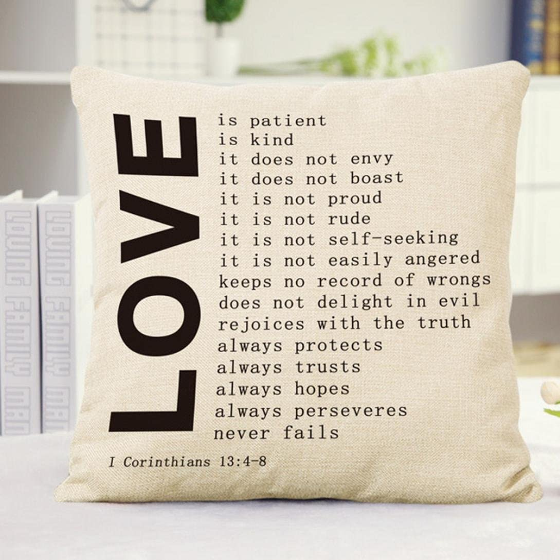 Cotton Linen English Letter Sofa Bed  Home Decoration Pillow Case Cushion Cover