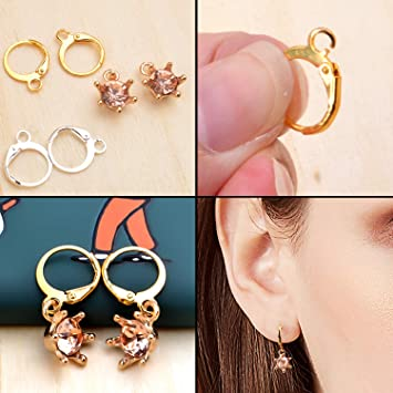 Earrings with Jump Hook 100 Pieces Round Leverback Earring Hooks Earwires Replacement French Style,Golden and Silver