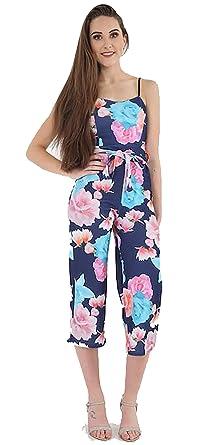 4d8ea06067 Women Ladies Floral Cropped Culotte Jumpsuit Playsuit Belt Waist Strappy  Party 8-16 (8