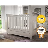Babymore Eva Sleigh Cot Bed Dropside with Drawer (White)