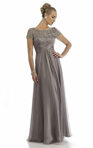 Newdeve Chiffon Diagonal Pleat Grey Mother Gowns Short Sleeve wtih Rhinestones