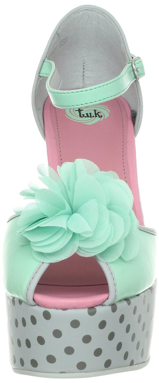 T.U.K. Punkte Tuk Damen Schuhe Mimi Chiffon Flower Punkte T.U.K. Wedges Heels Knöchelriemchen Grau / Mint 439507