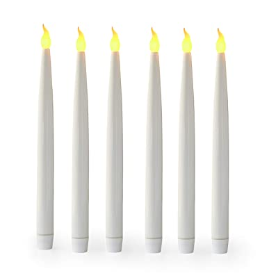 """Furora LIGHTING 13"""" Flameless LED Taper Candles, White Battery Operated Candles Tapers with Realistic Flickering Flame and 6 Hours Timer Feature - 13.5"""" White, Pack of 6: Home Improvement"""