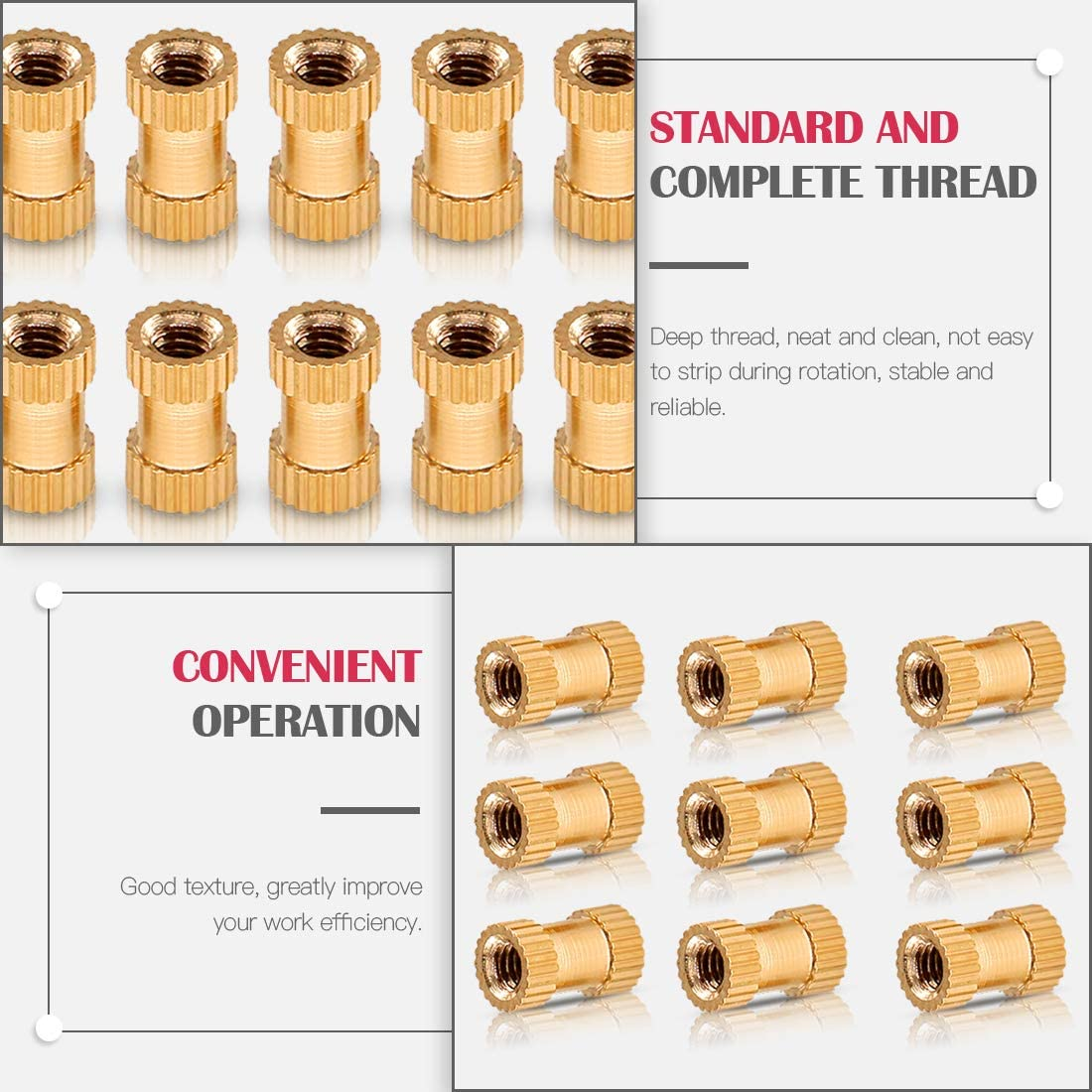 Pressed Fit into Holes for 3D Prints and More Projects Hilitchi 460 Pcs M2 M3 M4 M5 Female Thread Brass Knurled Threaded Insert Embedment Nuts Assortment Kit Embed Parts