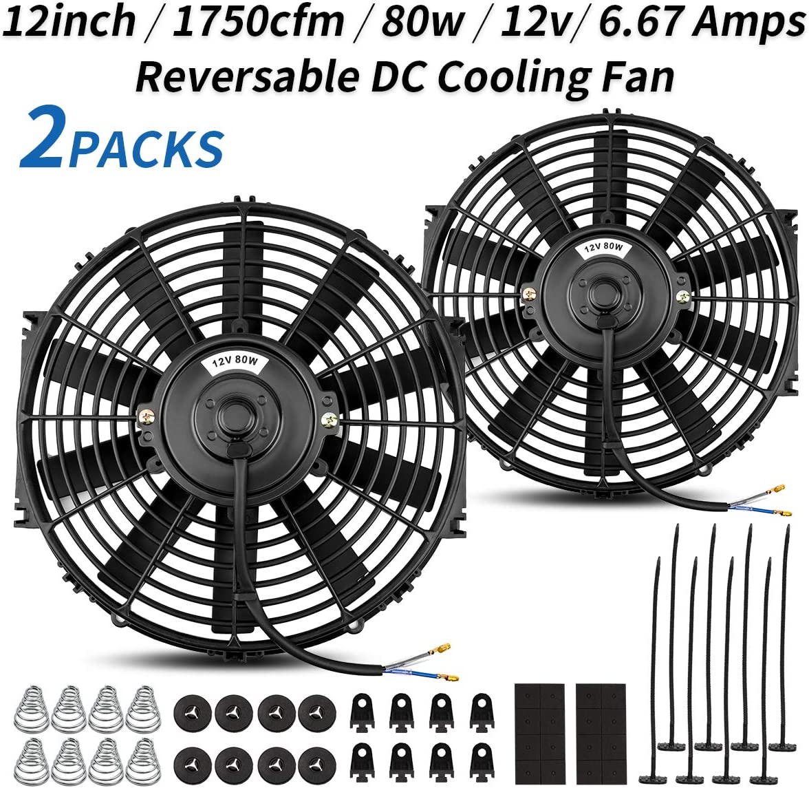 (2 Packs) Universal High Performance Reversible 2x12 Inch Electric Radiator Cooling Fan with Mounting Kit 1750 CFM 12 Volts 6.67 Amps 80 Watts