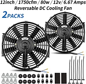 (2 Packs) Universal High Performance Reversible 2x12 Inch Electric Radiator Cooling Fan with Mounting Kit 1750 CFM12 Volts 6.67 Amps80 Watts