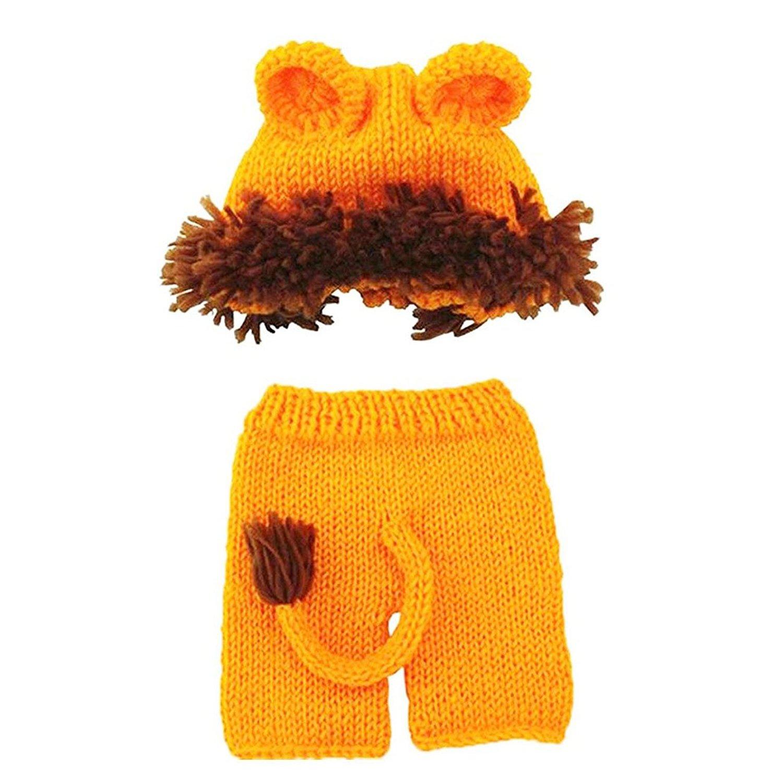 SODIAL Accesorios de fotografia de punto de ganchillo de bebe Sombrero de bebe hecho a mano traje de panal Leon