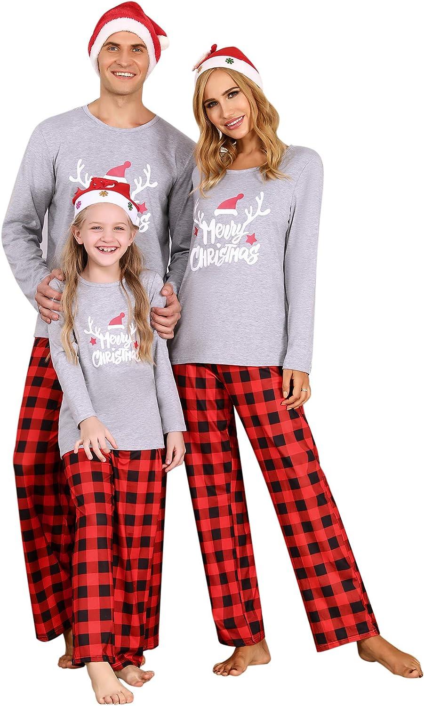 dnw2uo9 Weihnachten Schlafanzug Familie Lang Pyjama Set Fun-Nachtw/äsche Zweiteilige Nachthemd Rundhals Tops Xmas Nachtw/äsche Hausanzug mit Weihnachtsbrief
