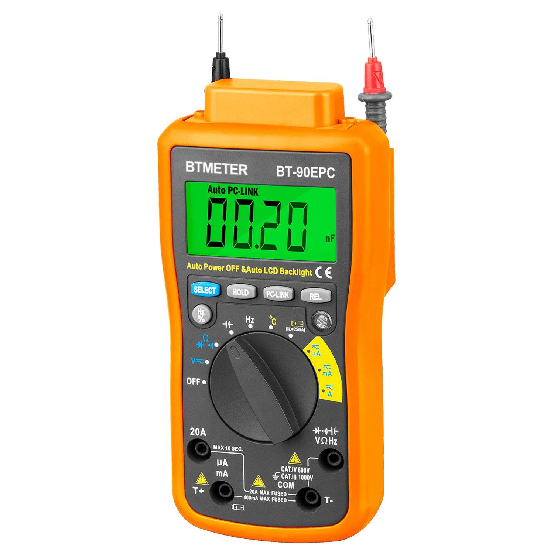 Multimeter BT-90EPC Auto Range Avometer DMM 4000 Counts With USB PC-Link, Auto Backlight, AC & DC Voltage, AC & DC Current, Resistance, Cap, Hz, Duty Cycle, Temperature, Battery Test by BTMETER