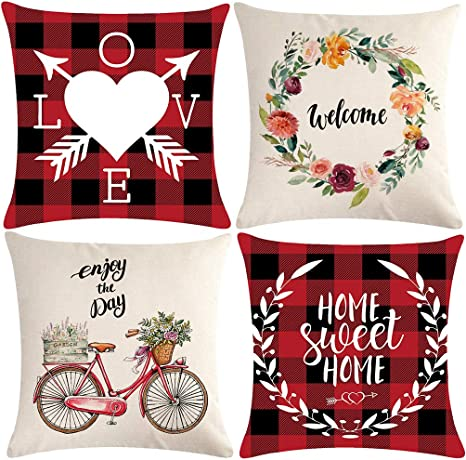 Ulove Love Yourself Welcome Home Decorative Throw Pillow Covers Home Sweet Home Wreath Bicycle Farmhouse Decor Indoor Outdoor Cushion Covers 18x18 Inch Set Of 4 For Sofa Couch Porch Home Kitchen
