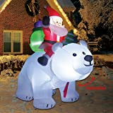 COMIN.NET 6 Feet Christmas Inflatable Outdoor Decoration Blow up Santa Clause Riding The Polar Animation Bear with…