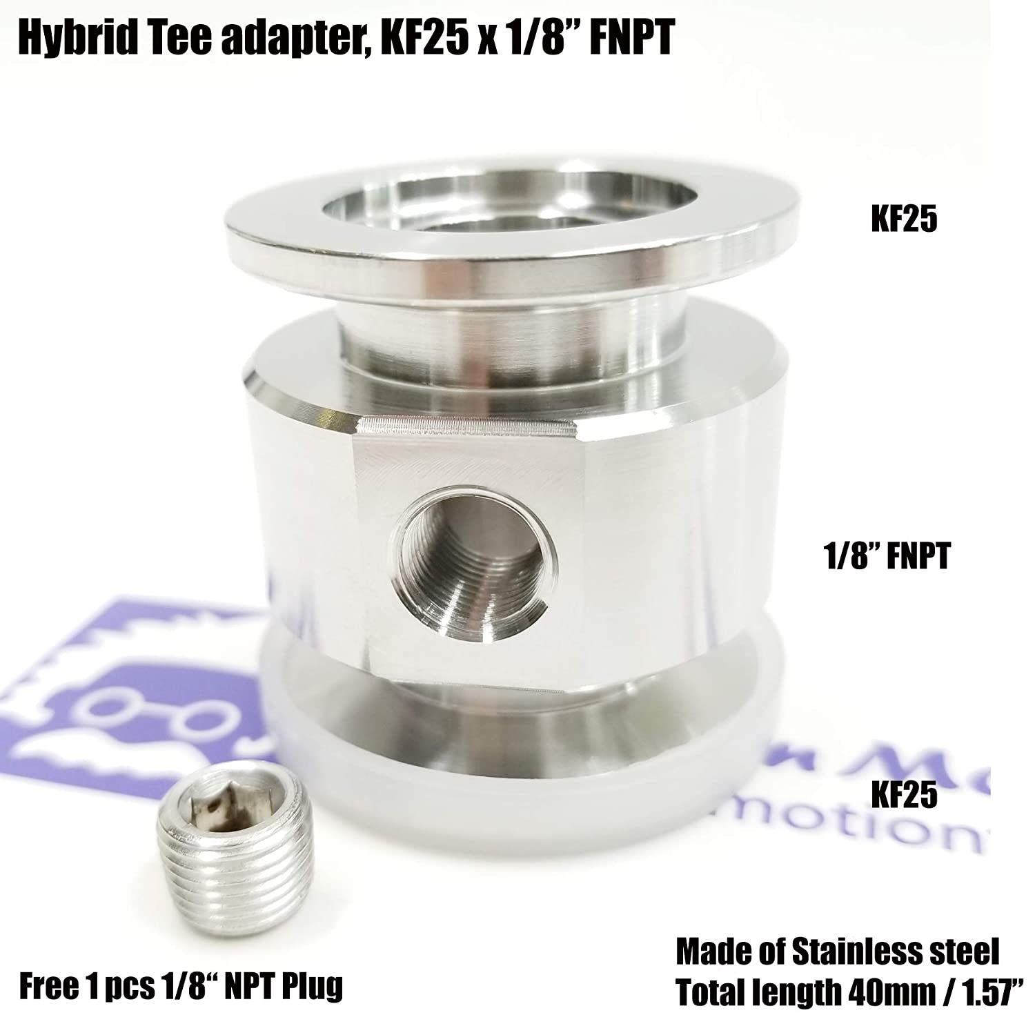 """Vacuum adaptive Tee both ends KF25 Flange and middle 1/8"""" FNPT port, End to end length 40 mm Bmotiontech"""