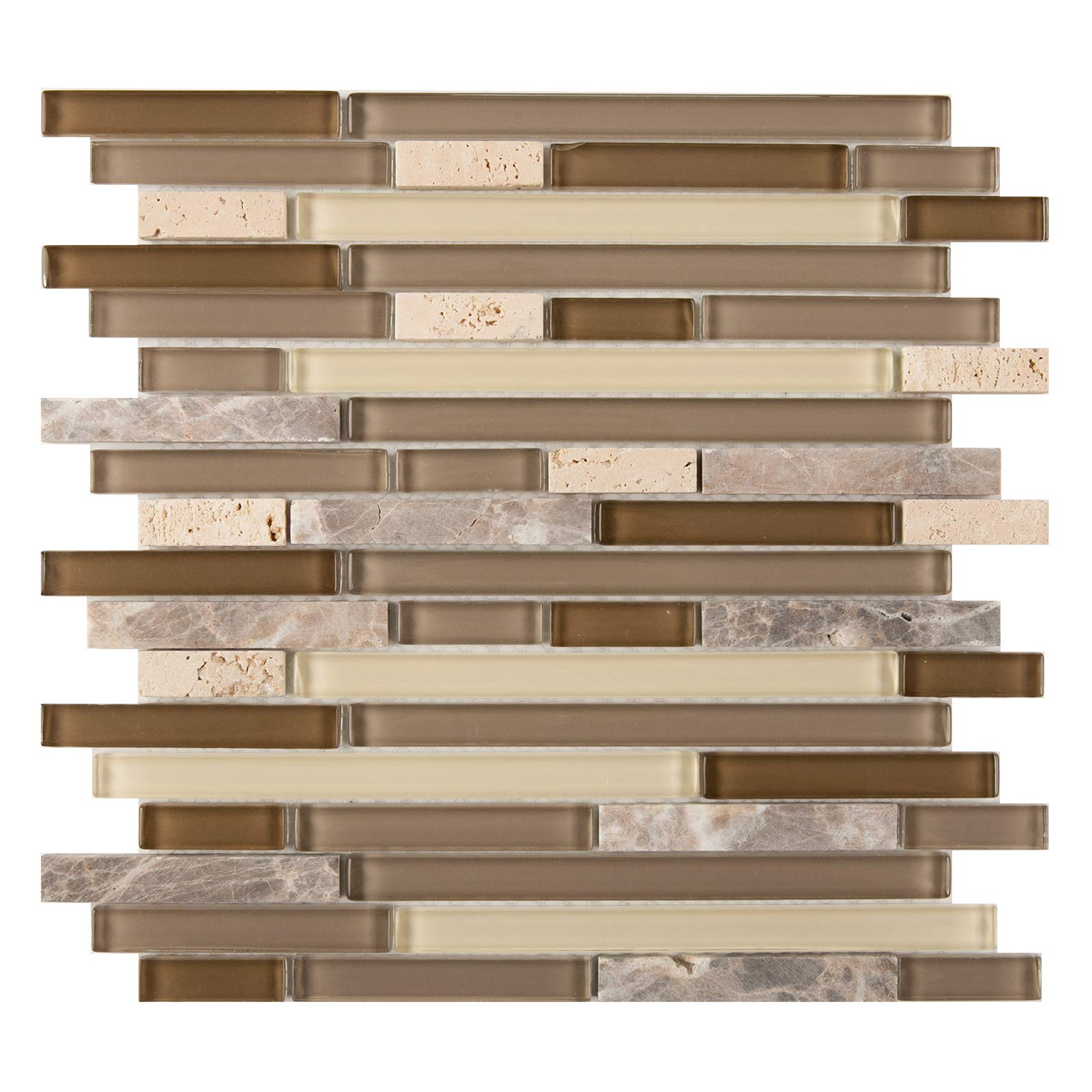 Glass and Stone Mosaic Tile, ACL 1001, Mixed Strips, 12''x12''x1/4'' (Box of 5 Sheets)