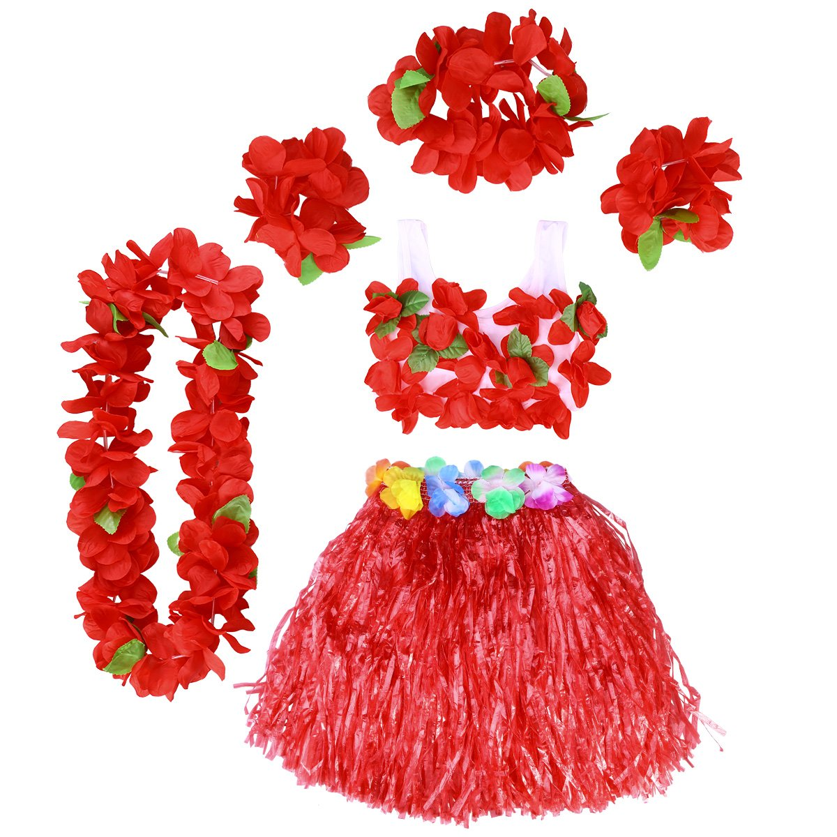 Costume Tropicale per Bambini da Spiaggia Luau Hawaii Set di 5 Pezzi per Travestimento da Gonna Gonna Hawaiian Leis BESTOYARD