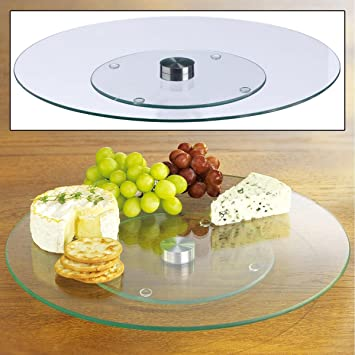 "Bandeja de cristal Lazy Susan 14 ""giratoria 360 ° fuente de servir redonda mesa"