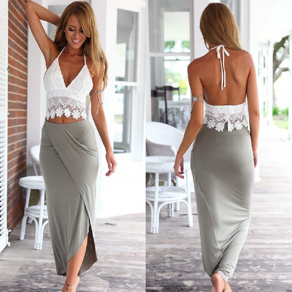 Slim Dress, Neartime Womens Long Bandage Two Piece Crop Tops and Skirt