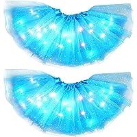 Amusingtao Falda tutú para niñas, Falda tutú con Luces LED para niñas, 2 Piezas de Vestido con Lentejuelas de Estrellas…