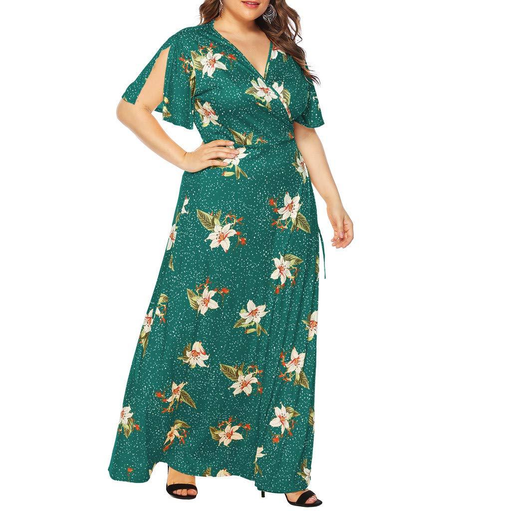 Beyonds Women Short Sleeve Plain Casual Plus Size Temperament Long Maxi Dress Green