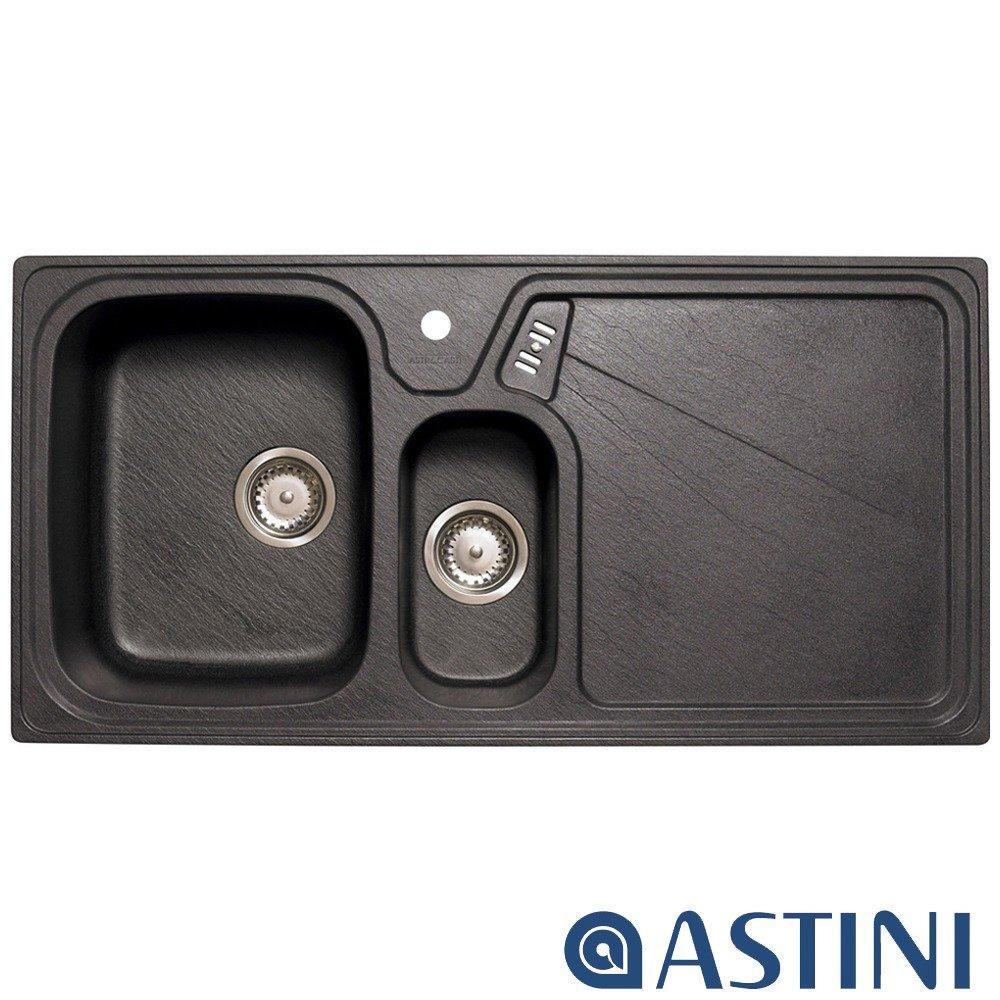 Astini Vitale 15 Bowl Granite Black Kitchen Sink Waste RHD