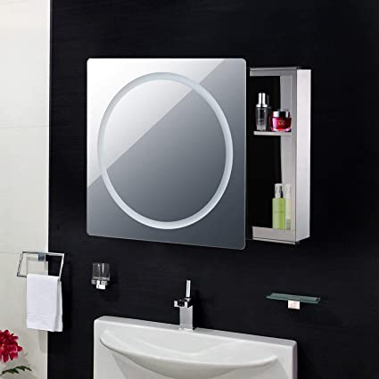 Espejo de Puerta corredera C con luz LED para baño, baño, Espejo, Armario, Estante Deslizante para Montaje en Pared, 2 estantes de Almacenamiento: Amazon.es: Electrónica