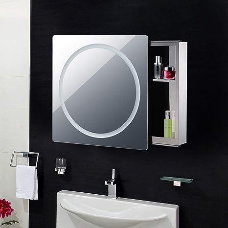 Espejo de Puerta corredera C con luz LED para baño, baño, Espejo ...