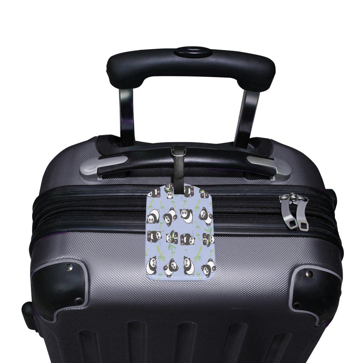 1Pcs Saobao Travel Luggage Tag Panda Bamboo PU Leather Baggage Suitcase Travel ID Bag Tag
