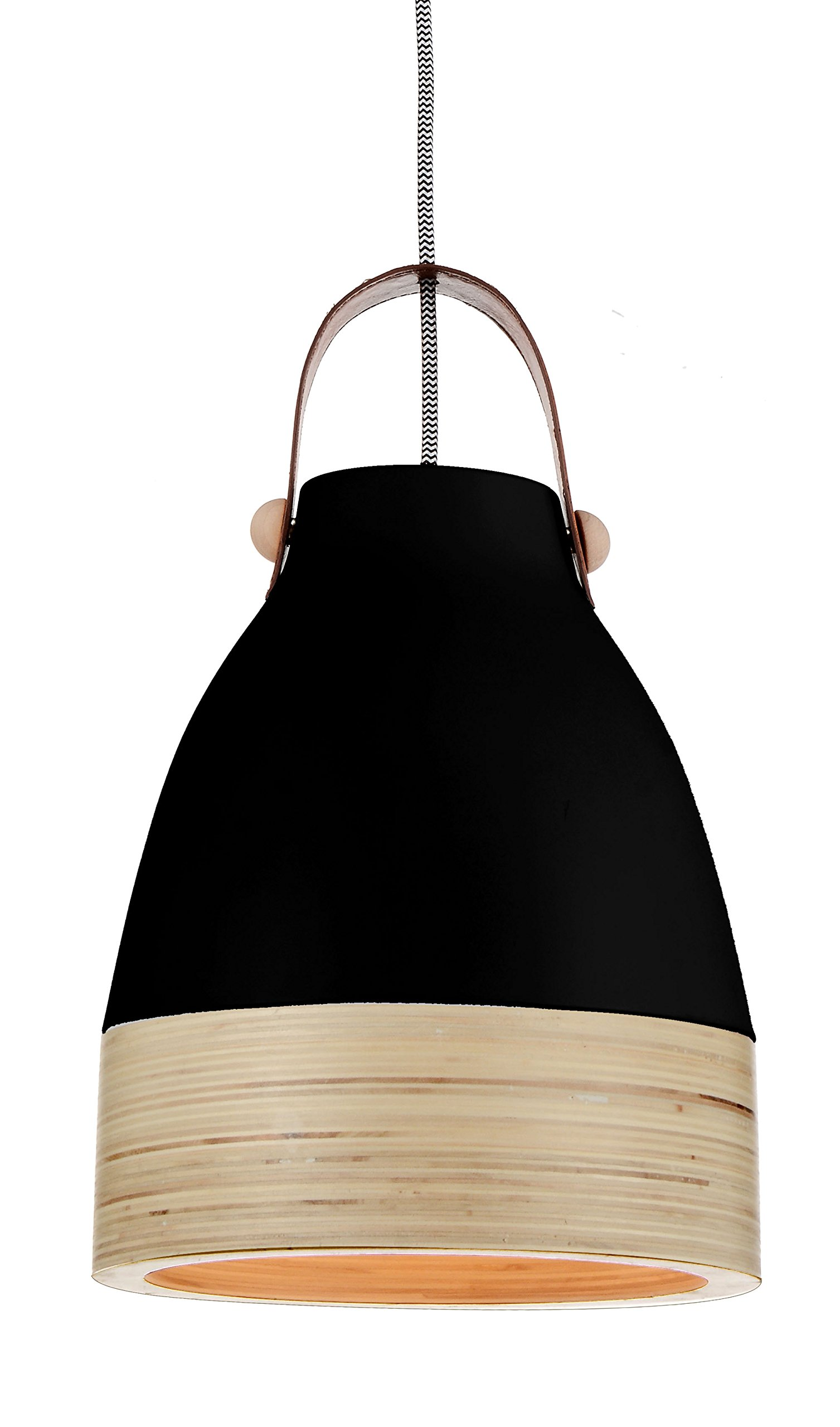 Cocoweb 9'' Norcia Pendant Light Black Shade with Wood Trim | LED Light Bulb Included | GO-C400-9BK