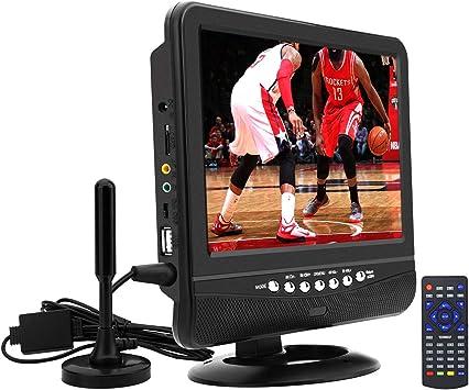 Televisor portátil de 9 Pulgadas para ATSC Digital TV Viewing en Estados Unidos, Canadá, México, USB/TF/AV en Reproductor, Soporte para Reproductor de vídeo 720P, Color Negro: Amazon.es: Electrónica