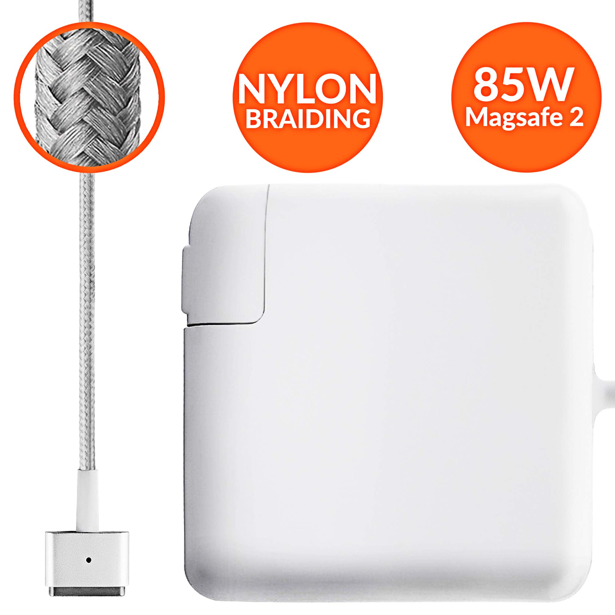 Mac Book Pro Charger Tangle-Free Nylon Cable Replacement Charger for Apple MacBook Pro Laptops with 85w Magsafe 2 Power Adapter
