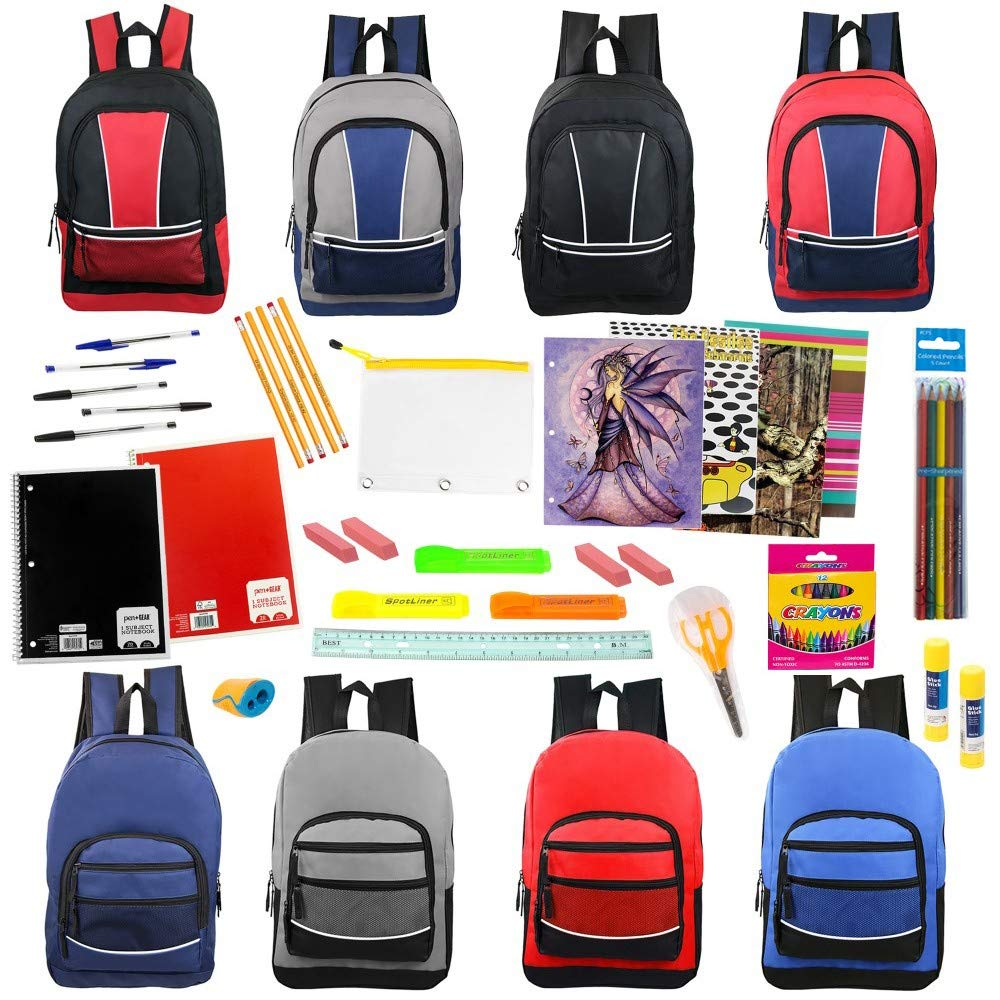 17 Inch Wholesale Sport Backpacks with 53 Piece School Supply Kit in 8 Assorted Styles - Bulk Case of 12 Pack Bundles