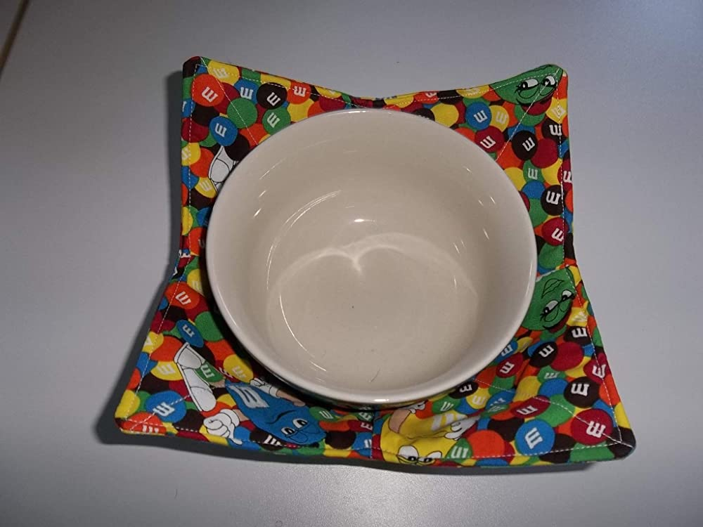 colorful fun happy cotton unique Hot bowl cozy bowls microwave  Smurfette pink reversible colorful gifts girl hot pad blue