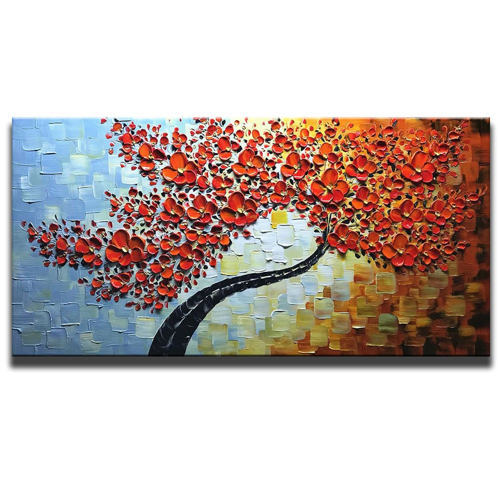 Asdam art hand painted red flower 3d oil paintings maple tree canvas wall art ready to hang abstract artwork 20x40inch