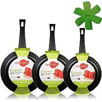 WECOOK Ecogreen Set Juego 3 Sartenes 18-20-24 cm Aluminio, inducción, Antiadherente ecológico sin PFOA, Limpieza…